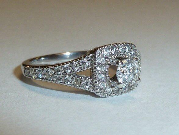 14KT DIAMOND RING 1/4 CT RAISED CENTER STONE - 4