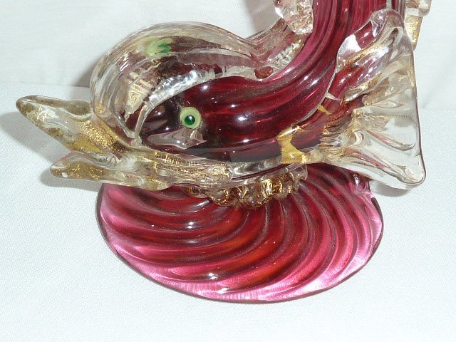 VINTAGE MORANO GLASS 2 COLOR SERPENT LAMP - 2