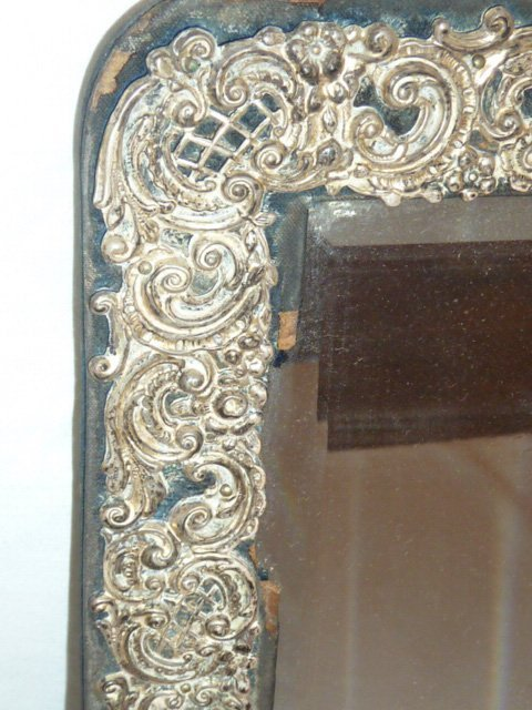 ANTIQUE MIRROR WITH STERLING REPOSSE BORDER - 2