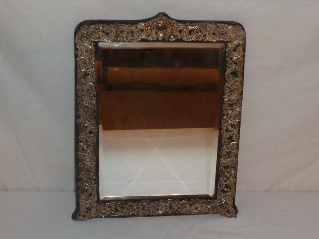 ANTIQUE MIRROR WITH STERLING REPOSSE BORDER - 3