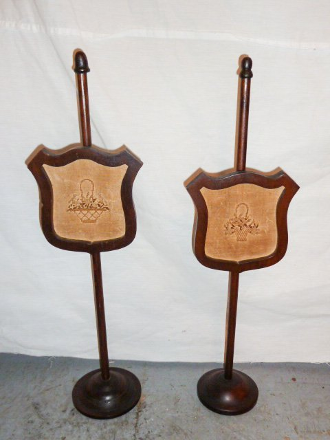 PAIR VICTORIAN ADJUSTABLE CANDLELIGHT SCREENS - 3