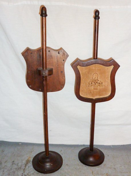 PAIR VICTORIAN ADJUSTABLE CANDLELIGHT SCREENS - 4