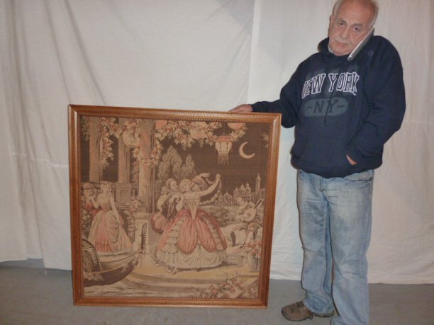 ANTIQUE FRENCH TAPESTRY IN CARVED WOOD FRAME