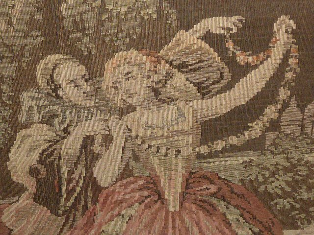 ANTIQUE FRENCH TAPESTRY IN CARVED WOOD FRAME - 2
