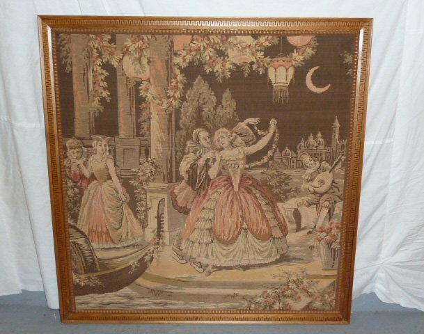 ANTIQUE FRENCH TAPESTRY IN CARVED WOOD FRAME - 3