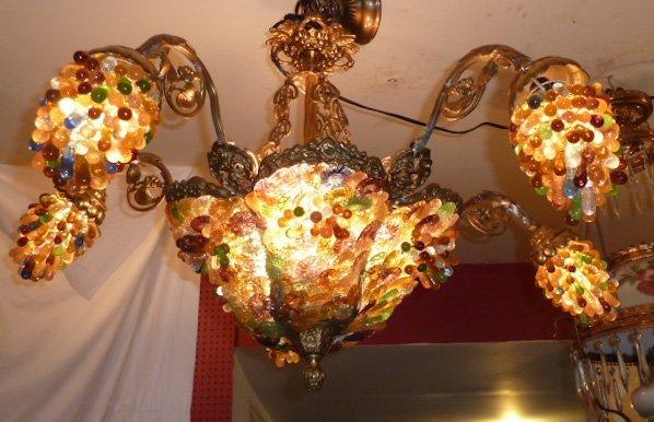 FRENCH FIVE LIGHT CHANDELIER HAND BLOWN ART GLASS