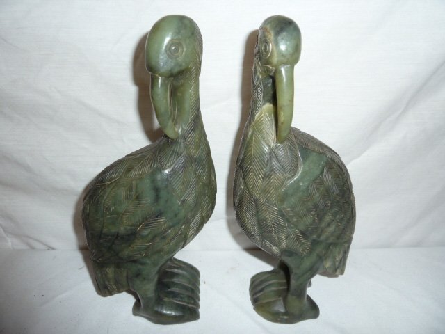 PAIR OF CARVED CHINESE SPINACH JADE PERCHED BIRDS - 2