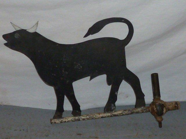 ANTIQUE FOLK ART BULL SHEET IRON WEATHERVANE - 2