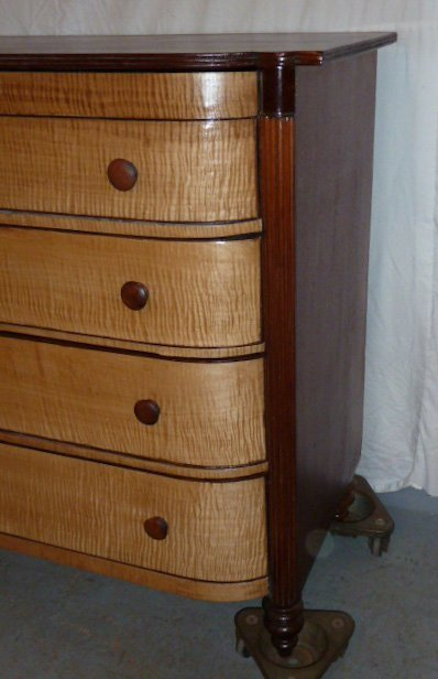 1840'S 4 DRAWER GENTLEMENS CHEST CURVED FRONT - 3