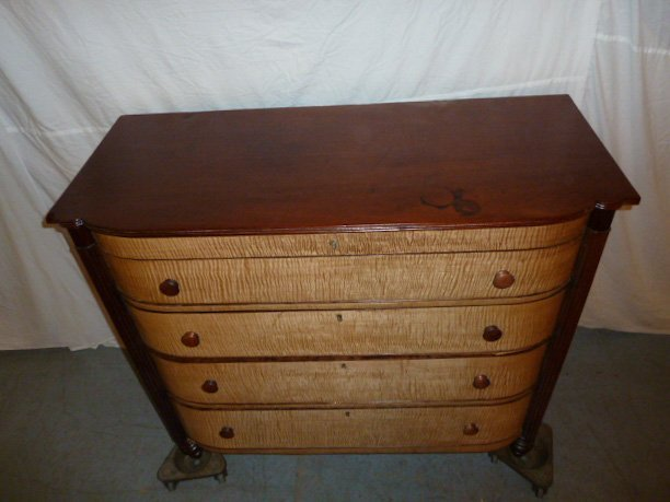 1840'S 4 DRAWER GENTLEMENS CHEST CURVED FRONT - 4