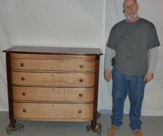 1840'S 4 DRAWER GENTLEMENS CHEST CURVED FRONT - 5