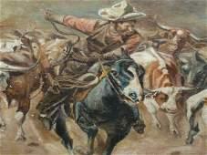 OIL ON CANVAS ILLUSTRATION ART COWBOY ROUNDUP