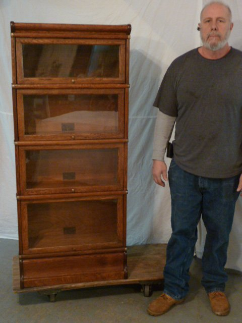 GLOBE-WERNICKE 3/4 SIZE OAK 4 STACKER BOOKCASE