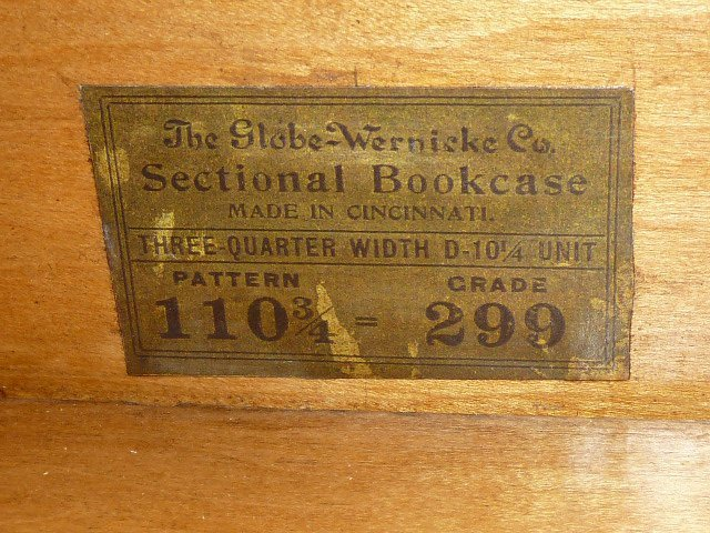 GLOBE-WERNICKE 3/4 SIZE OAK 4 STACKER BOOKCASE - 3