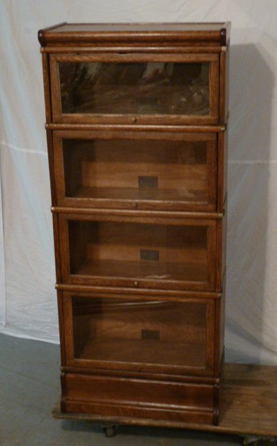 GLOBE-WERNICKE 3/4 SIZE OAK 4 STACKER BOOKCASE - 5