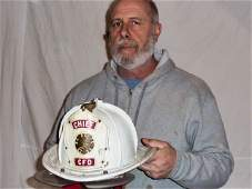 VINTAGE CATSKILL FD CHIEF CAIRNS LEATHER HELMET