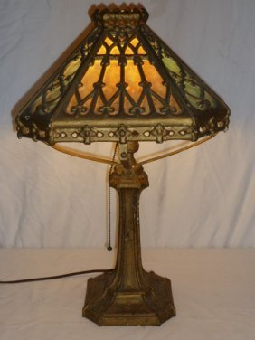 PITTSBURGH CAST IRON AND SLAG GLASS TABLE LAMP