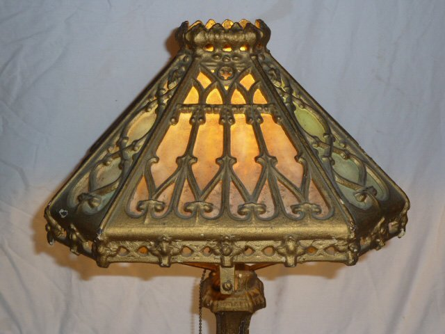 PITTSBURGH CAST IRON AND SLAG GLASS TABLE LAMP - 2