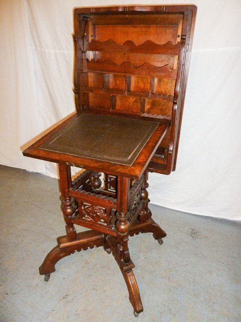 VICTORIAN FLIP TOP ORNATE DESK/STAND