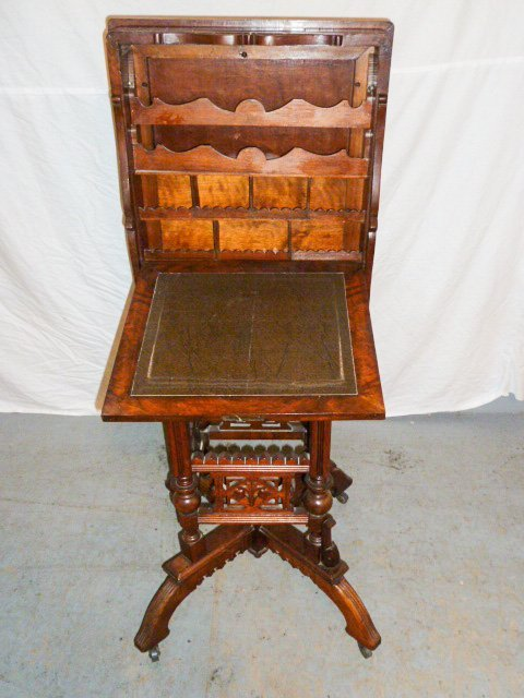 VICTORIAN FLIP TOP ORNATE DESK/STAND - 2