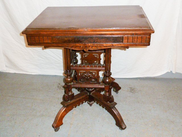VICTORIAN FLIP TOP ORNATE DESK/STAND - 4