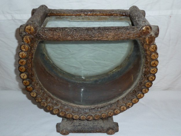 ANTIQUE ADIRONDACK LOG CABIN FORM TERRARIUM - 2