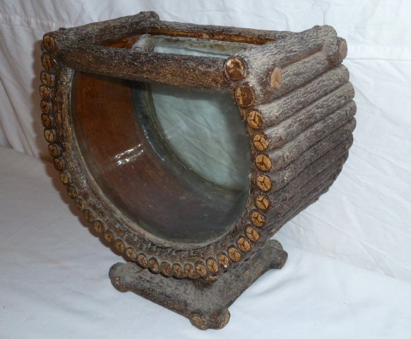 ANTIQUE ADIRONDACK LOG CABIN FORM TERRARIUM - 3