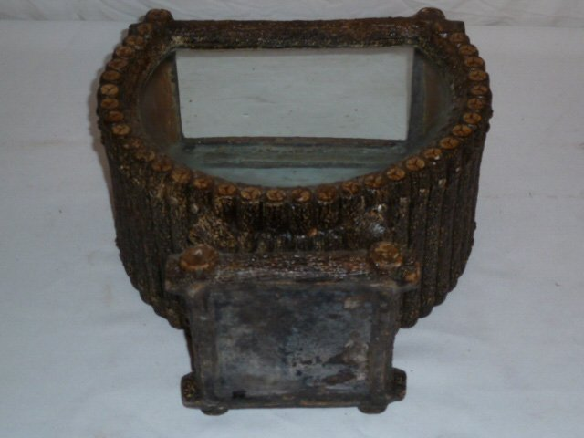 ANTIQUE ADIRONDACK LOG CABIN FORM TERRARIUM - 7