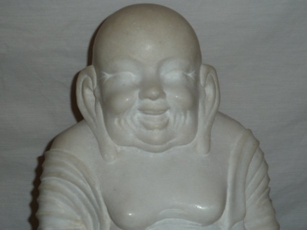 CARVED MARBLE SCULPTURE OF LAUGHING BUDDHA - 2