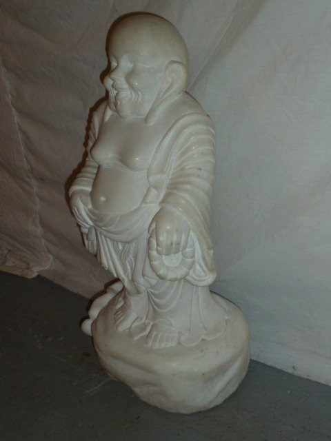 CARVED MARBLE SCULPTURE OF LAUGHING BUDDHA - 5