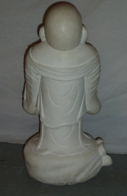 CARVED MARBLE SCULPTURE OF LAUGHING BUDDHA - 6