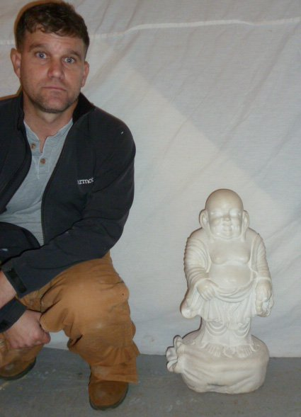 CARVED MARBLE SCULPTURE OF LAUGHING BUDDHA - 7