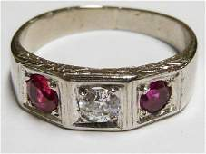 18KT MEN'S WHITE GOLD RING WITH RUBY & DIAMONDS