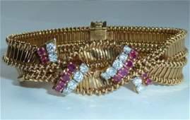 FRENCH 18KT YELLOW GOLD RUBY  DIAMOND BRACELET