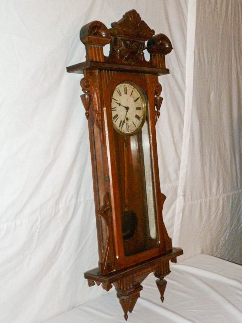 19TH C. LONG DROP 8 DAY TIME ONLY REGULATOR CLOCK - 6