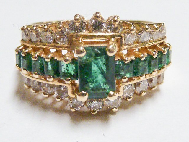 14KT NATURAL DARK MATCHED EMERALD & DIAMONDS RING