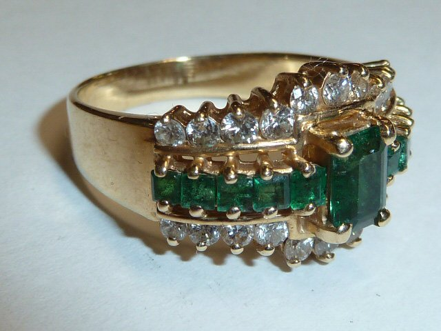 14KT NATURAL DARK MATCHED EMERALD & DIAMONDS RING - 2