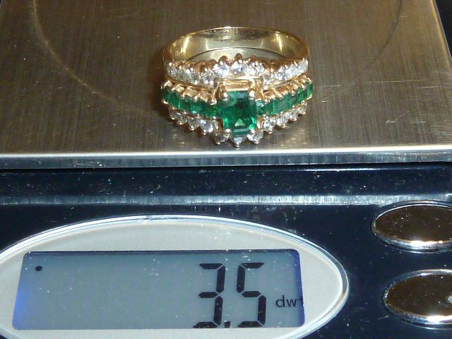 14KT NATURAL DARK MATCHED EMERALD & DIAMONDS RING - 4