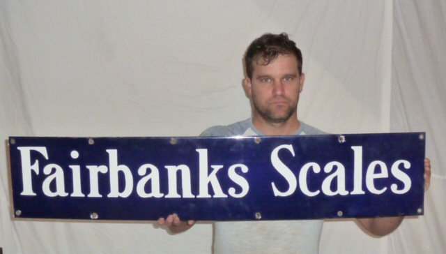 1930'S FAIRBANKS SCALES TRADE SIGN COLBALT BLUE