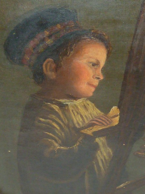 19TH C. OIL ON CANVAS CHILD AT EASEL GILT FRAME