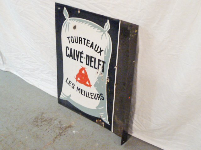 VINTAGE PORCELAIN DOUBLE SIDED FRENCH FLOUR SIGN - 2