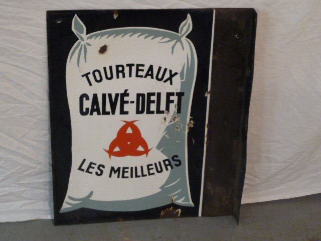VINTAGE PORCELAIN DOUBLE SIDED FRENCH FLOUR SIGN - 3