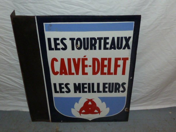 VINTAGE PORCELAIN DOUBLE SIDED FRENCH FLOUR SIGN - 4