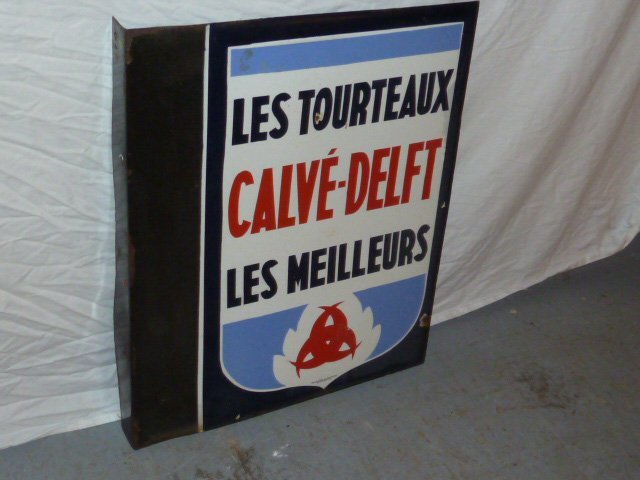 VINTAGE PORCELAIN DOUBLE SIDED FRENCH FLOUR SIGN - 5