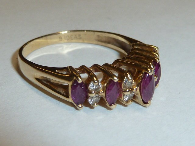 14KT YELLOW GOLD MARQUE DIAMOND & RUBY RING - 2