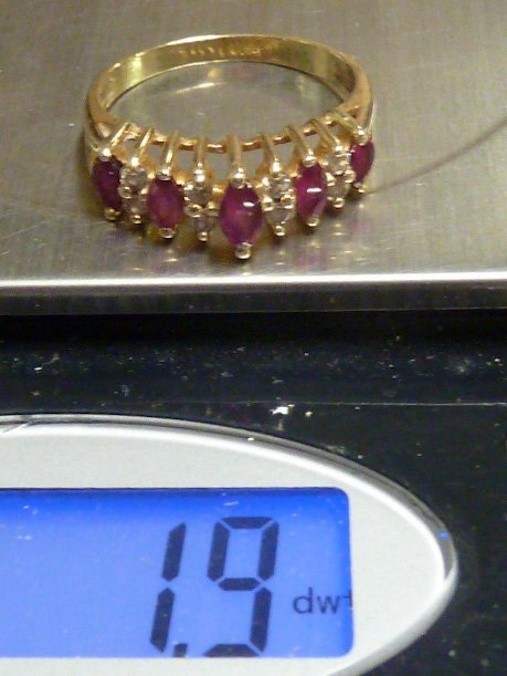 14KT YELLOW GOLD MARQUE DIAMOND & RUBY RING - 4