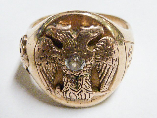 14KT IMPERIAL DOUBLE HEADED EAGLE DIAMOND RING