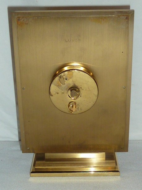 VINTAGE LUXOR BRASS 8 DAY SWISS TABLE CLOCK - 4