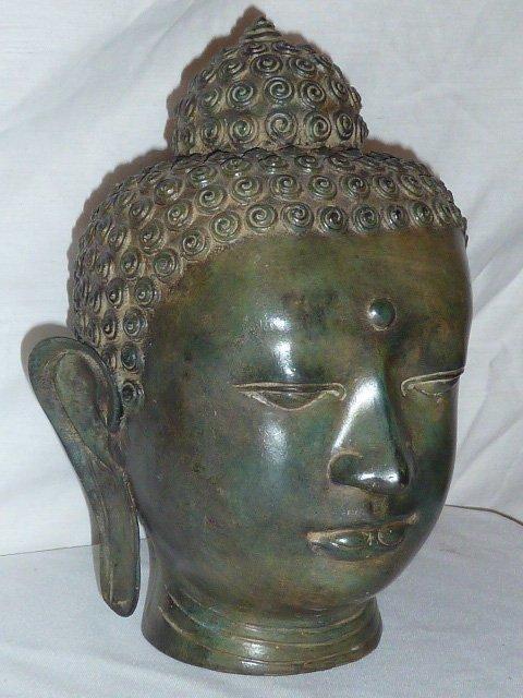 BRONZE BUDDHA HEAD, HAS NICE COLOR - 2