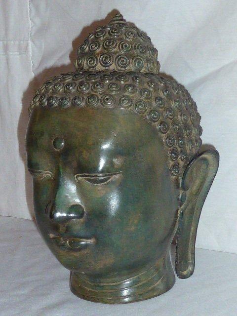 BRONZE BUDDHA HEAD, HAS NICE COLOR - 3